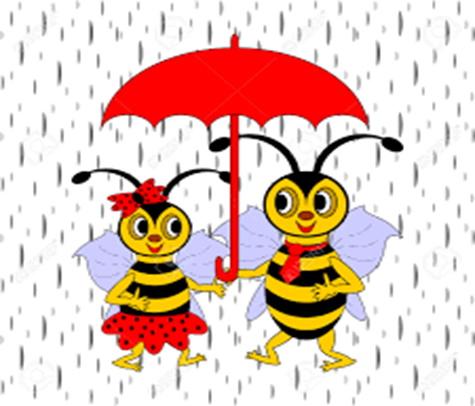 petit dessin montrant 2 abeilles sous un parapluie